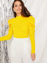 Load image into Gallery viewer, NEON YELLOW MOCK-NECK PUFF SLEEVE TOP