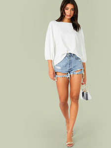 SOLID RAGLAN SLEEVE TOP