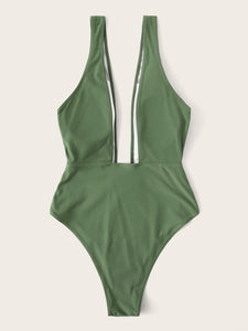 PLUNGING NECK SOLID ONE PIECE SWIMSUIT