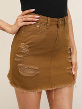 Load image into Gallery viewer, BLACK WASH DISTRESSED DENIM SKIRT