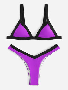 CONTRAST TRIM TRIANGLE TOP WITH HIGH LEG BIKINI