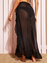 Load image into Gallery viewer, KNOT SIDE RUFFLE TRIM SHEER COVER UP SKIRT