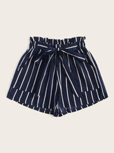 Load image into Gallery viewer, PAPERBAG TIE WAIST STRIPED SHORTS