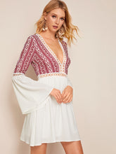Load image into Gallery viewer, Plunging Neck Lace Insert Bell Sleeve Tribal Print Dress