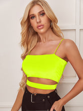 Load image into Gallery viewer, NEON ORANGE SOLID CUT OUT CROP CAMI TOP