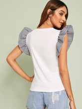 Load image into Gallery viewer, CARTOON PRINT GINGHAM RUFFLE SLEEVE TEE