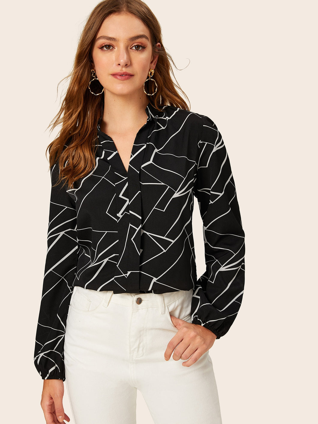 RANDOM STRIPE PRINT NOTCHED NECK BLOUSE