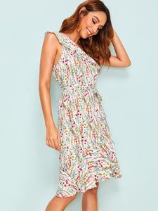 RUFFLE TRIM DITSY FLORAL ONE SHOULDER DRESS
