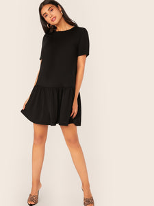 DROP WAIST FLIPPY HEM DRESS
