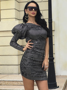 MISSORD ONE SHOULDER PUFF SLEEVE SEQUIN BODYCON DRESS