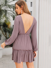 Load image into Gallery viewer, DEEP V NECK FRILL TRIM BACKLESS DRESS