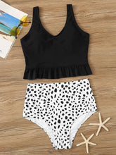 Load image into Gallery viewer, RUFFLE HEM TOP WITH DALMATIAN HIGH WAIST TANKINI SET