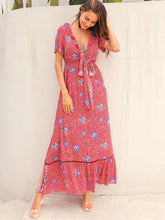 Load image into Gallery viewer, TRIBAL DITSY FLORAL TIE FRONT MAXI DRESS