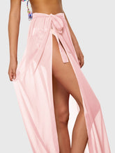 Load image into Gallery viewer, NEON PINK SLIT SIDE SEMI SHEER KNOT COVER UP SKIRT
