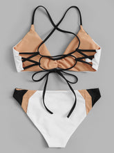 Load image into Gallery viewer, LACE-UP BACK TOP WITH COLOR-BLOCK BIKINI