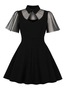 50s Contrast Mesh Solid Dress