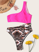 Load image into Gallery viewer, RANDOM SNAKE PRINT ONE SHOULDER CUT-OUT ONE PIECE SWIMSUIT