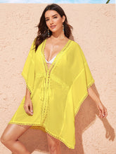 Load image into Gallery viewer, Tied Waist Lace Trim Deep V Neck Cover Up