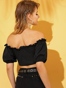 Lace-up Frill Trim Crop Blouse
