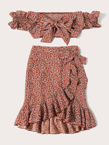 PLANTS KNOT FRONT SHIRRED TOP & RUFFLE WRAP SKIRT