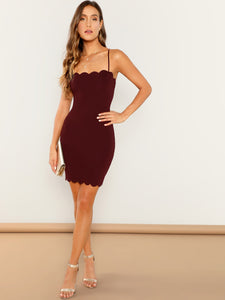 FORM FITTING SCALLOPED CAMI DRESS