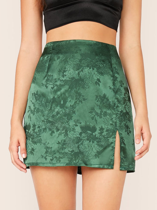 SPLIT HEM JACQUARD SATIN SKIRT