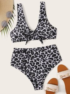 LEOPARD KNOT FRONT TOP WITH HIGH WAIST BIKINI