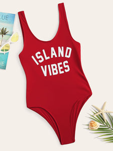 SLOGAN PRINT BEACH SWIMSUIT