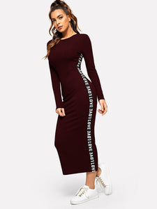 CONTRAST LETTER TAPE SIDE DRESS