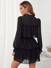 Load image into Gallery viewer, Tie Neck Ruffle Trim Layered Dress