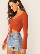 Load image into Gallery viewer, DRAWSTRING FRONT BELL SLEEVE CROP TOP