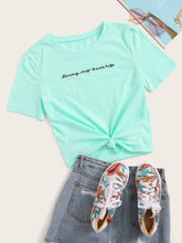 Load image into Gallery viewer, EMBROIDERED SLOGAN PRINT TEE
