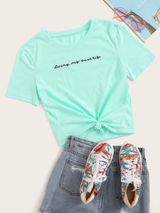 EMBROIDERED SLOGAN PRINT TEE