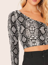 Load image into Gallery viewer, ONE SHOULDER SNAKESKIN CROP TOP