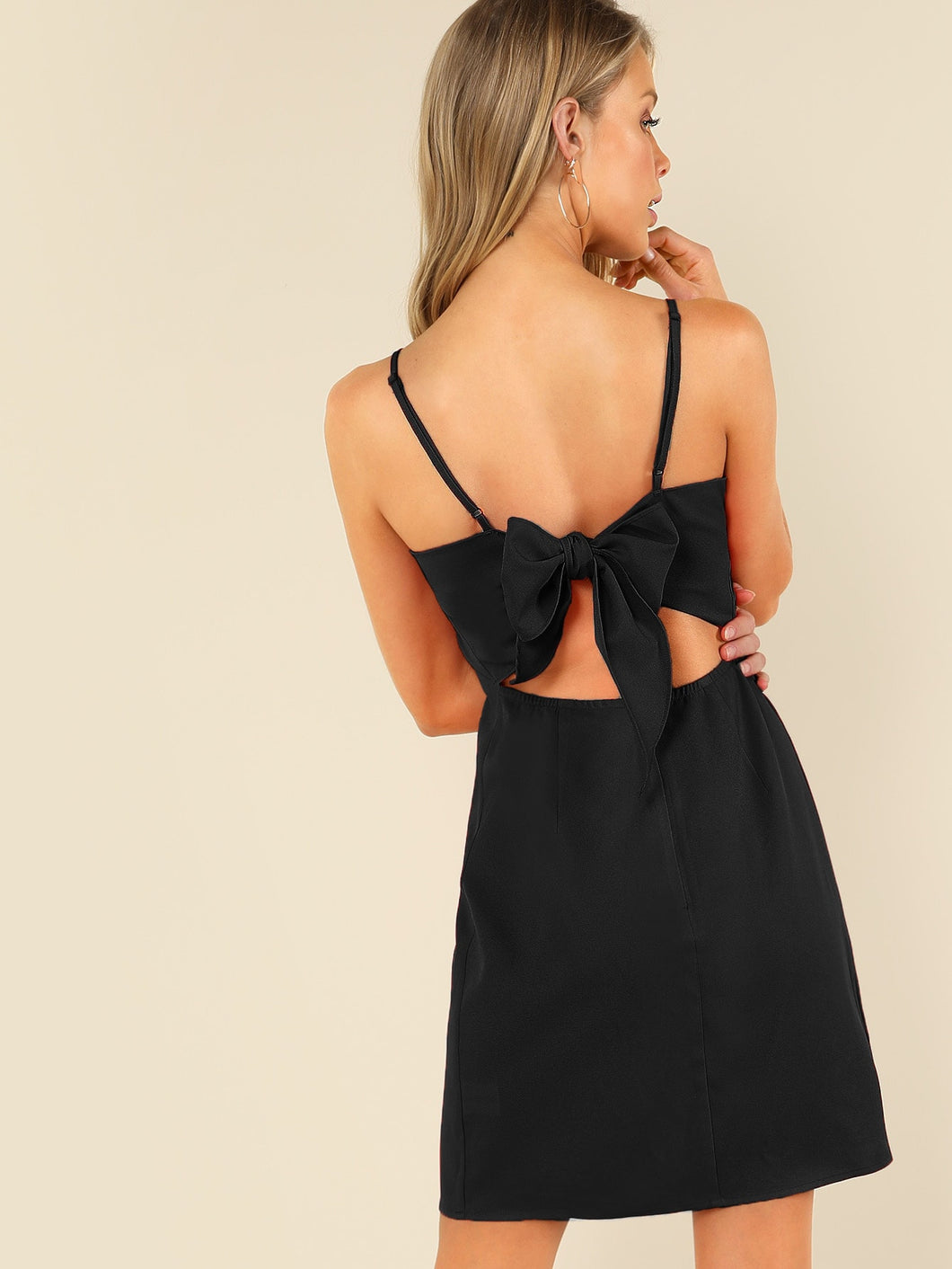 BOW TIE PEEKABOO BACK CAMI DRESS
