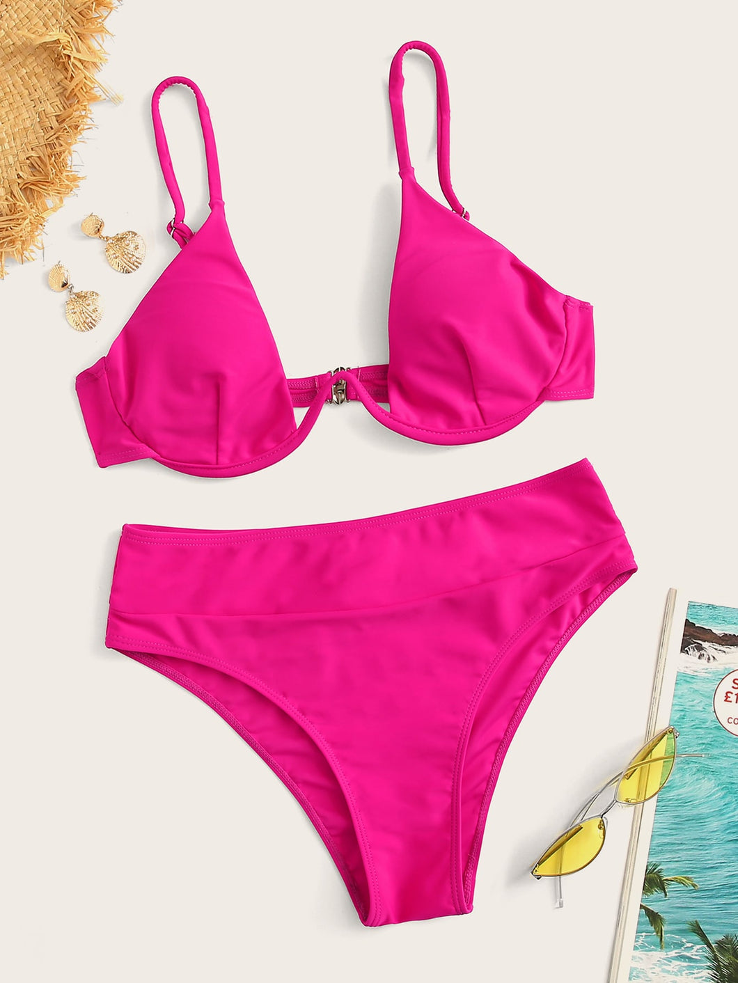 NEON HOT PINK UNDERWIRE BIKINI SET