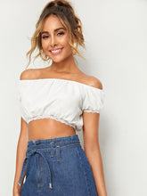 Load image into Gallery viewer, OFF SHOULDER LACE TRIM CROP TOP