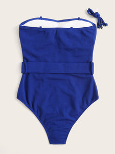 RIB BELTED BANDEAU ONE PIECE SWIMSUIT