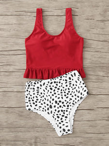 RUFFLE HEM TOP WITH DALMATIAN HIGH WAIST TANKINI SET