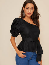 Load image into Gallery viewer, ONE SHOULDER PUFF SLEEVE BELTED SOLID TOP