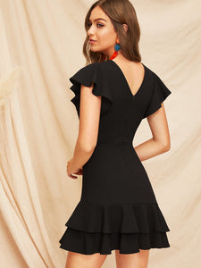 V-BACK LAYERED RUFFLE HEM FLUTTER SLEEVE DRESS