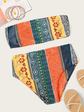 Load image into Gallery viewer, RANDOM PAISLEY PRINT BANDEAU BIKINI SET