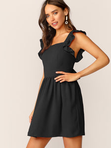 TIE BACK RUFFLE STRAP SKATER DRESS