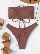 Load image into Gallery viewer, LACE UP BANDEAU BIKINI SET