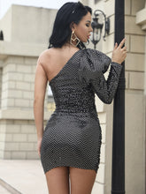 Load image into Gallery viewer, MISSORD ONE SHOULDER PUFF SLEEVE SEQUIN BODYCON DRESS