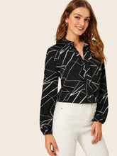 Load image into Gallery viewer, RANDOM STRIPE PRINT NOTCHED NECK BLOUSE