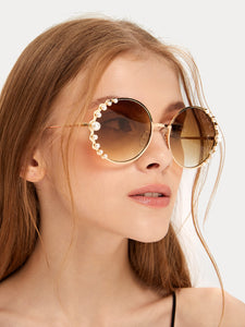 FAUX PEARL DECOR ROUND FRAME SUNGLASSES