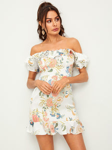 BOTANICAL PRINT LACE TRIM FOLDOVER BARDOT DRESS