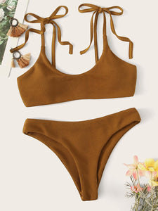 SHOULDER SELF TIE TOP WITH RIBBED BIKINI SET