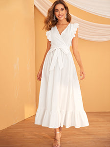 EMBROIDERED EYELET RUFFLE ARMHOLE SELF BELTED WRAP DRESS